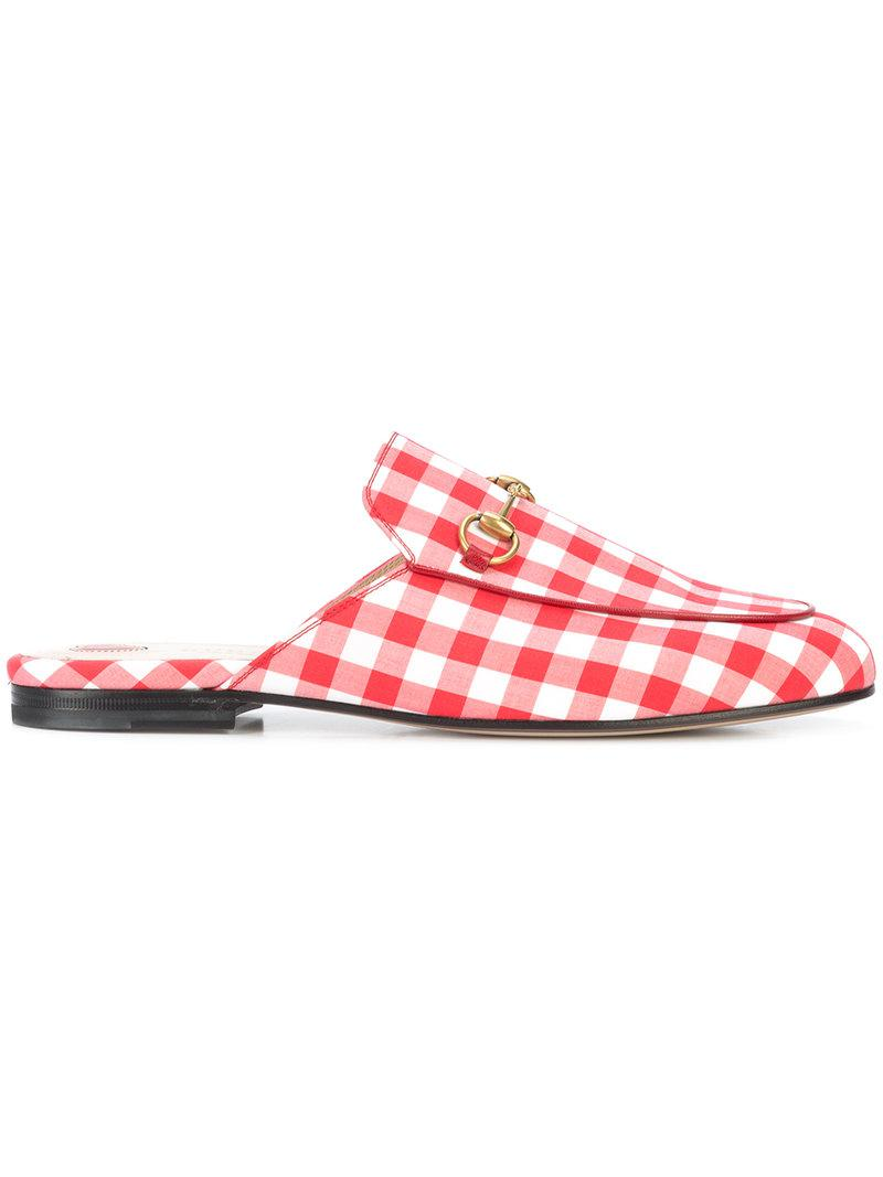 25ed01101a7 Gucci Gingham Princetown Mules in Red - Lyst