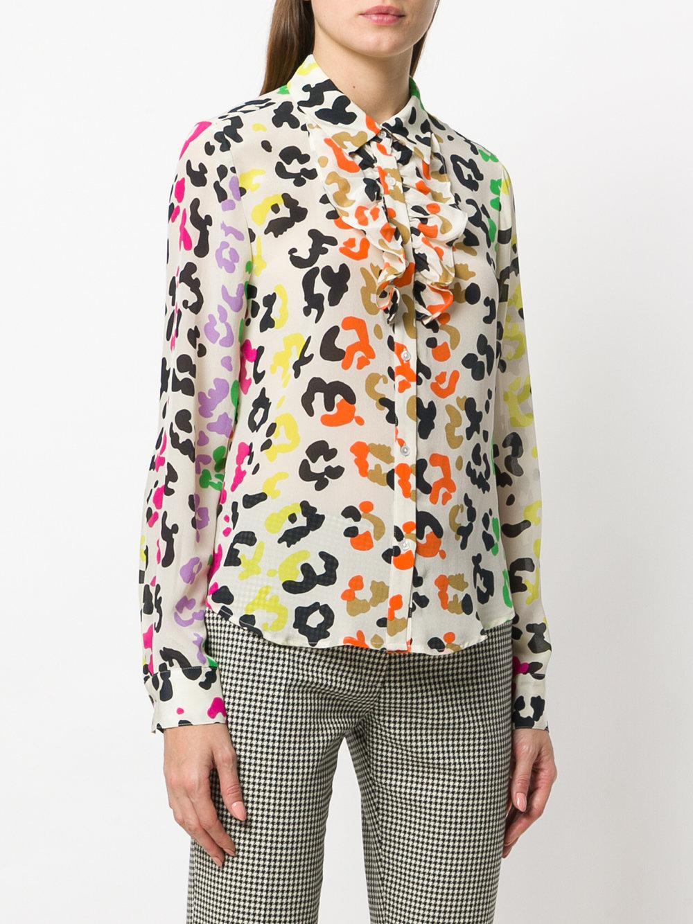 5c87a1b89b60 Essentiel Antwerp Leopard Print Ruffle Shirt - Lyst