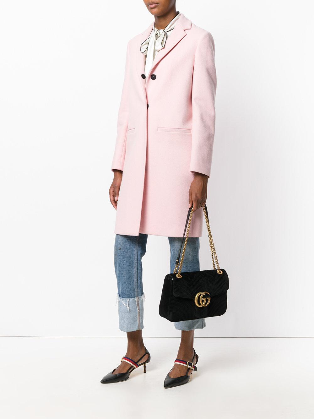 34763e1a5 Gucci Marmont 2.0 Velvet Shoulder Bag in Black - Save 18% - Lyst