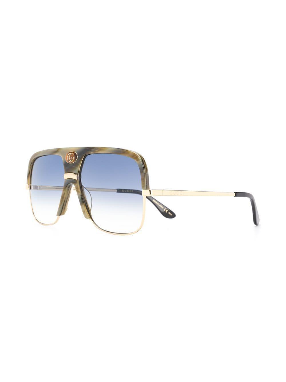 f9d189e6c23e1 Lyst - Gucci Square-frame Sunglasses in Metallic for Men