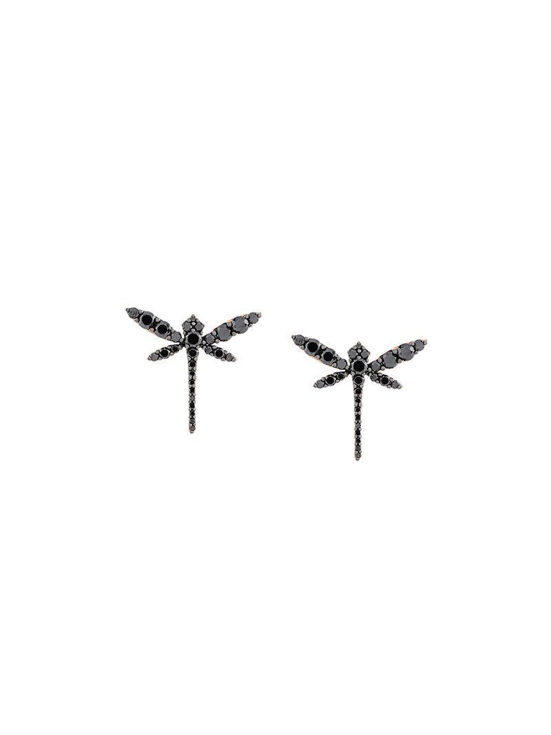 Anapsara mini dragonfly earrings - Black jvERiaMb