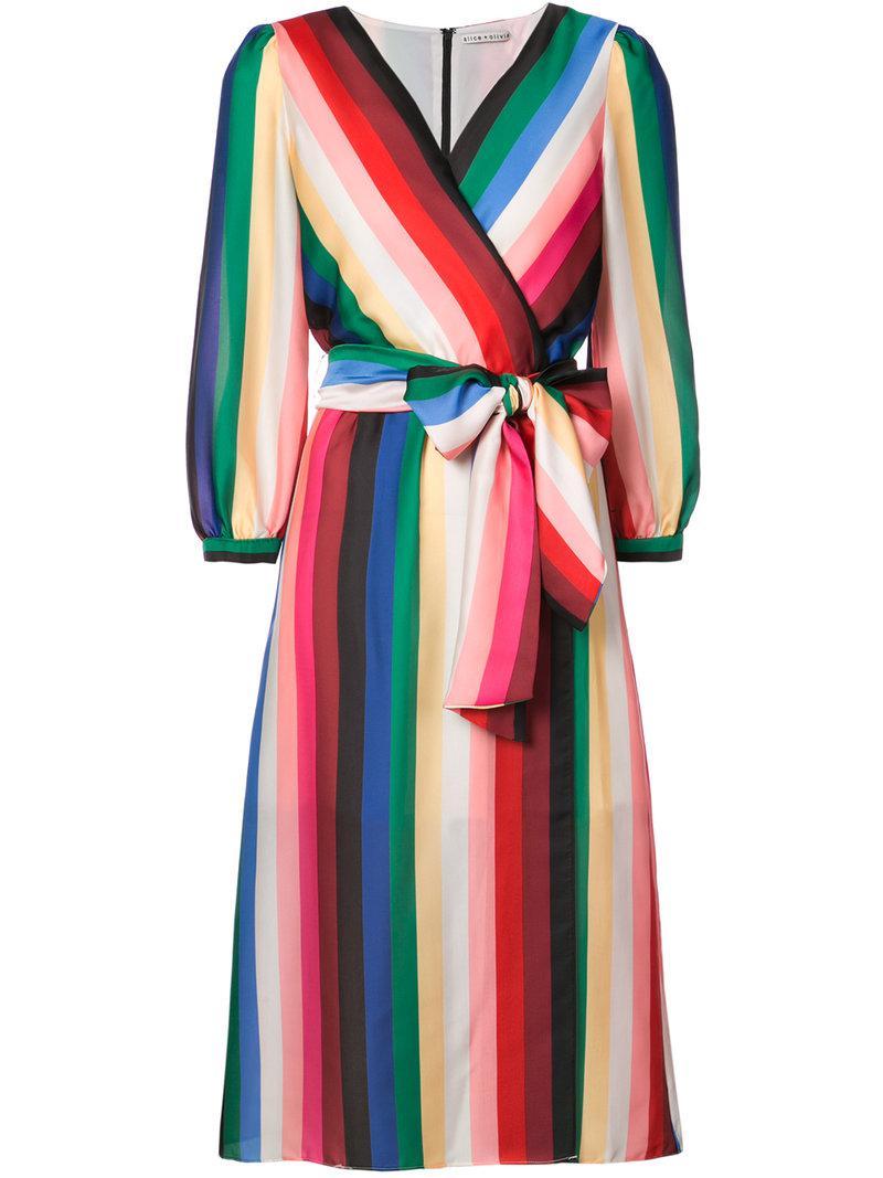 Lyst Alice Olivia Rainbow Stripe Wrap Dress In Red