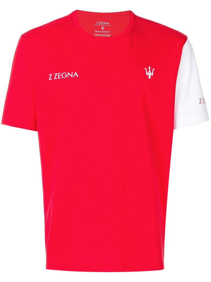 Lyst z zegna logo print t shirt in red for men for T shirt with logo printed