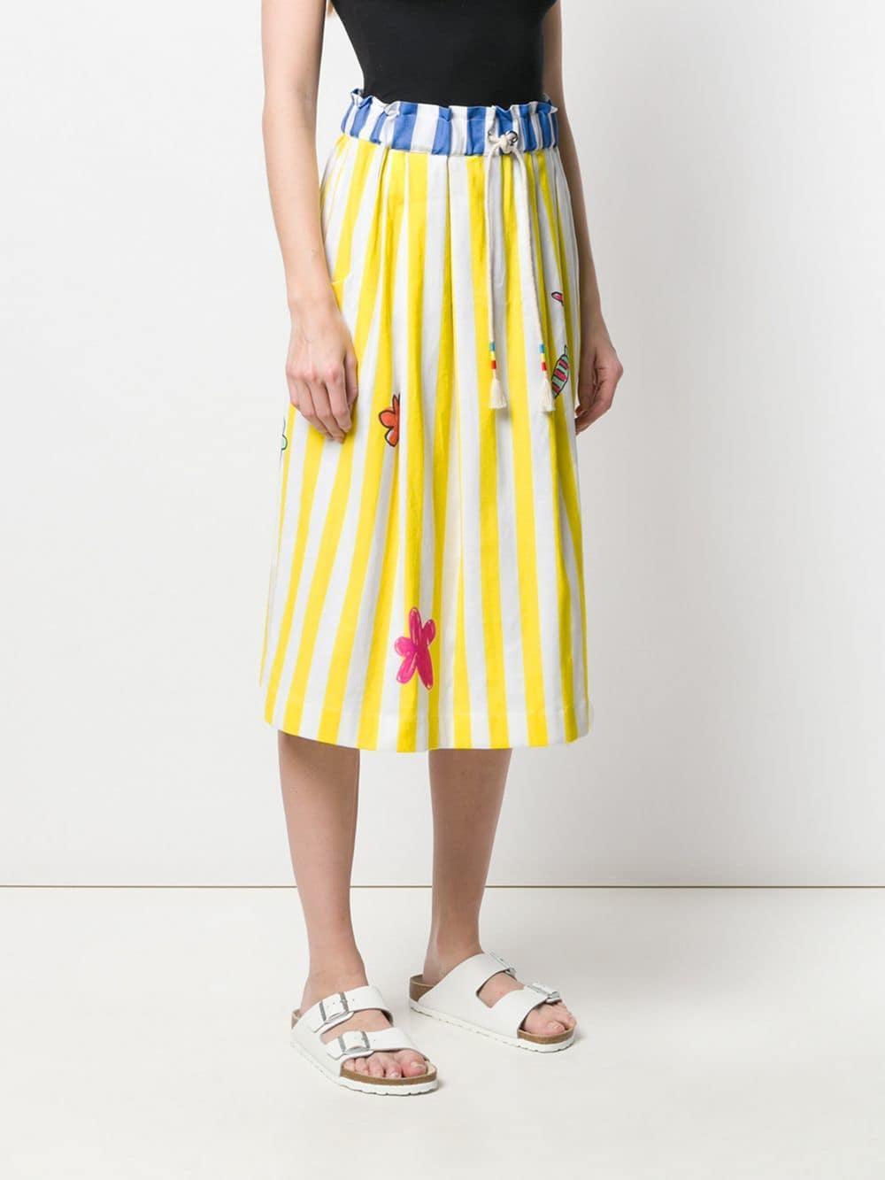 de23009caff7 MIRA MIKATI - Yellow Striped Graphic Skirt - Lyst. View fullscreen