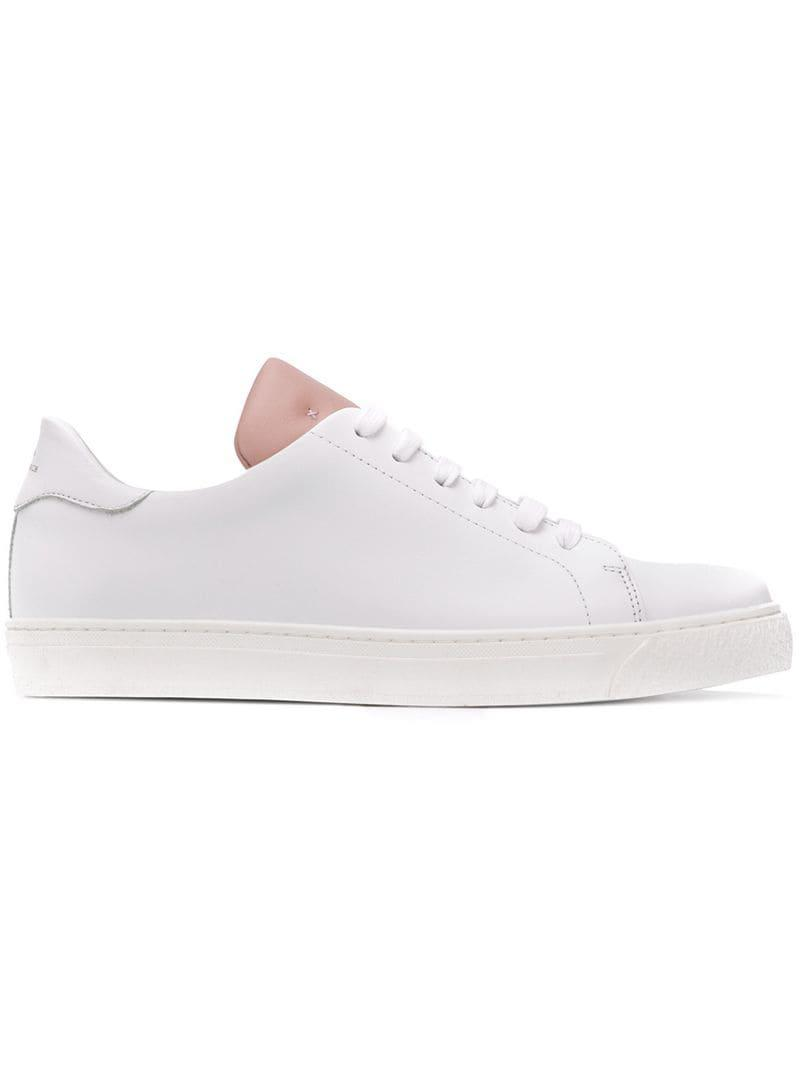 Anya Hindmarch Contrast Tongue Lace-up Sneakers in White - Lyst 5d71e1856c1