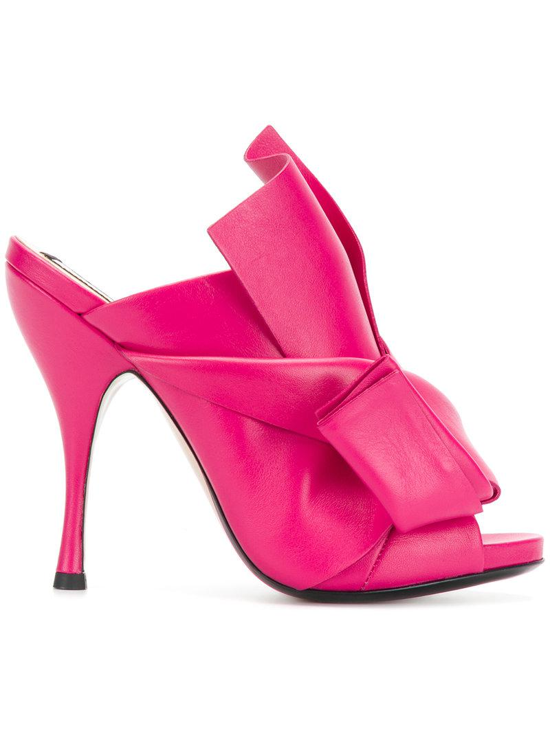 abstract bow slingback pumps - Pink & Purple N°21 OsxtzB1q