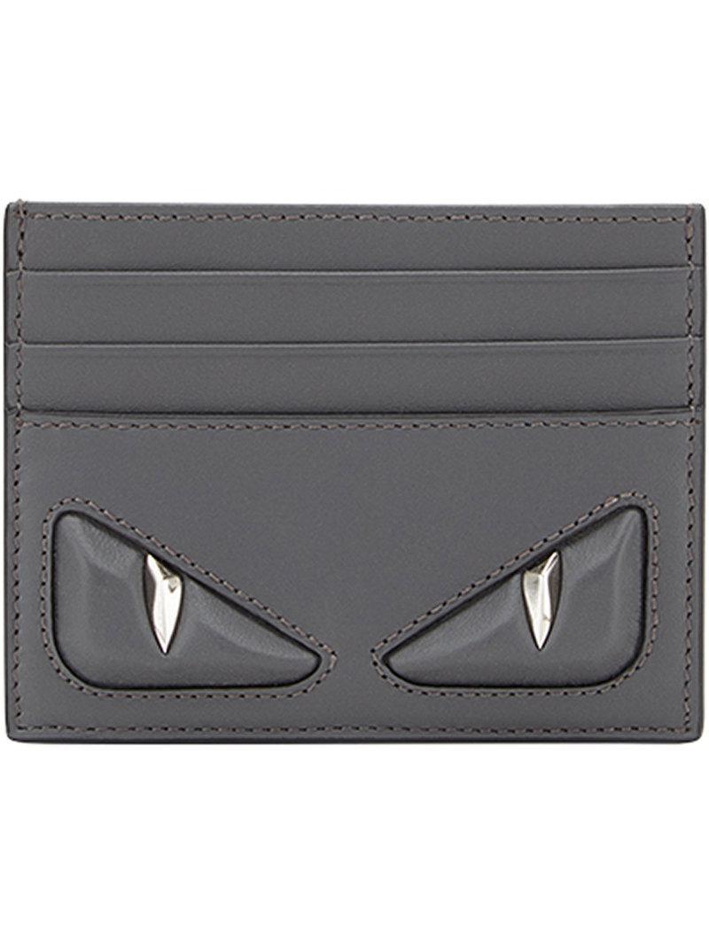 712f1d5162b7 Fendi Eyes Cardholder in Gray for Men - Lyst