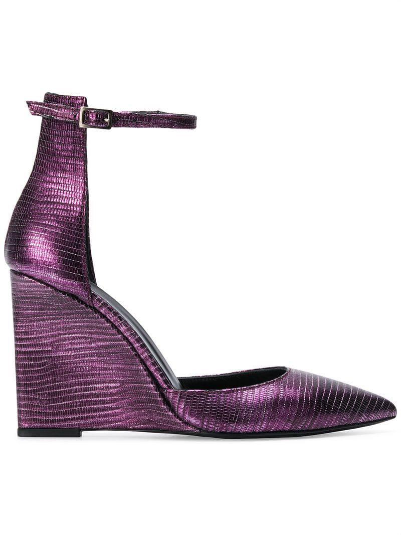 a9ec07f8fae Lyst just cavalli metallic wedges in purple jpg 800x1067 Purple pink wedges