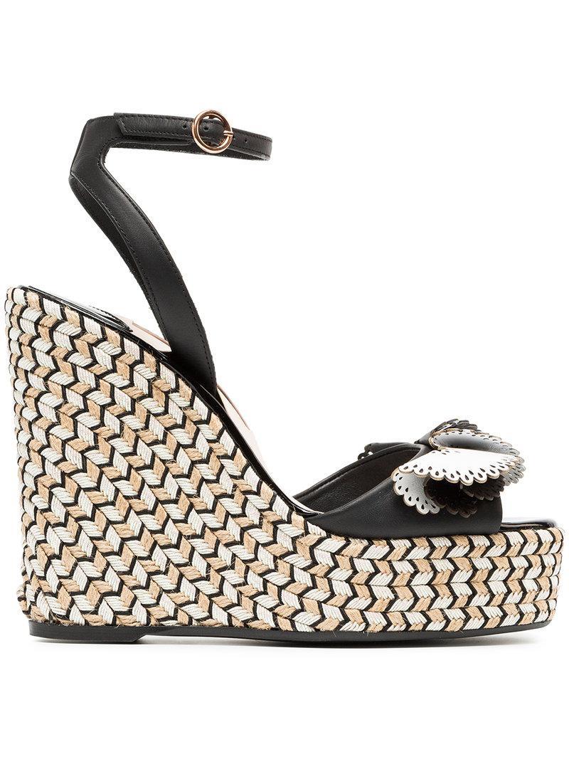 72f04c1d3126 Sophia Webster. Women s Black Soleil Lucita Leather Espadrille Wedge Sandals