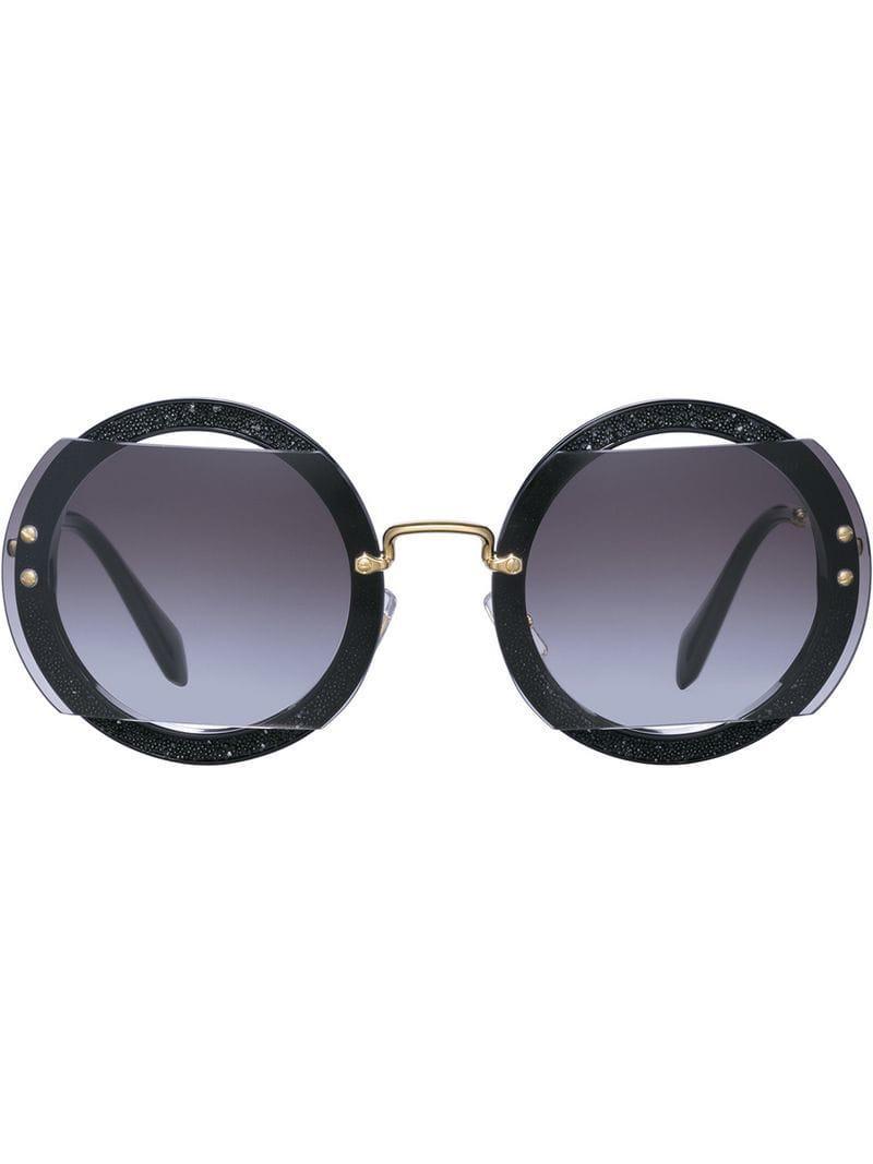 32d9f77efc3e Lyst - Miu Miu Reveal Glitter Sunglasses in Black
