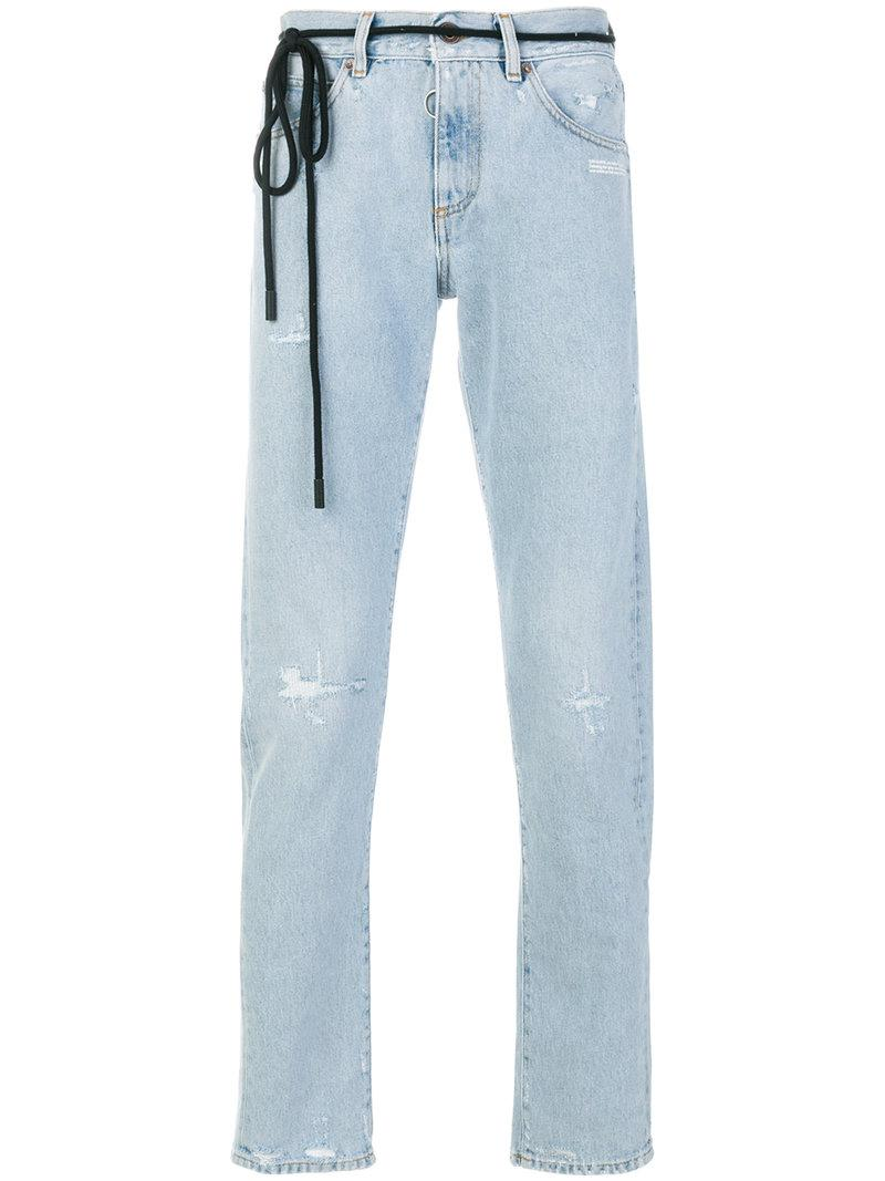 94e7aa0f3c0a Off-White c o Virgil Abloh. Men s Blue Distressed Faded Tie Detail Jeans