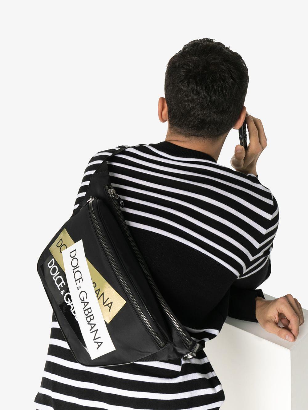 Dolce   Gabbana - Black Logo Tape Cross Body Belt Bag for Men - Lyst. View  fullscreen 987918600660f