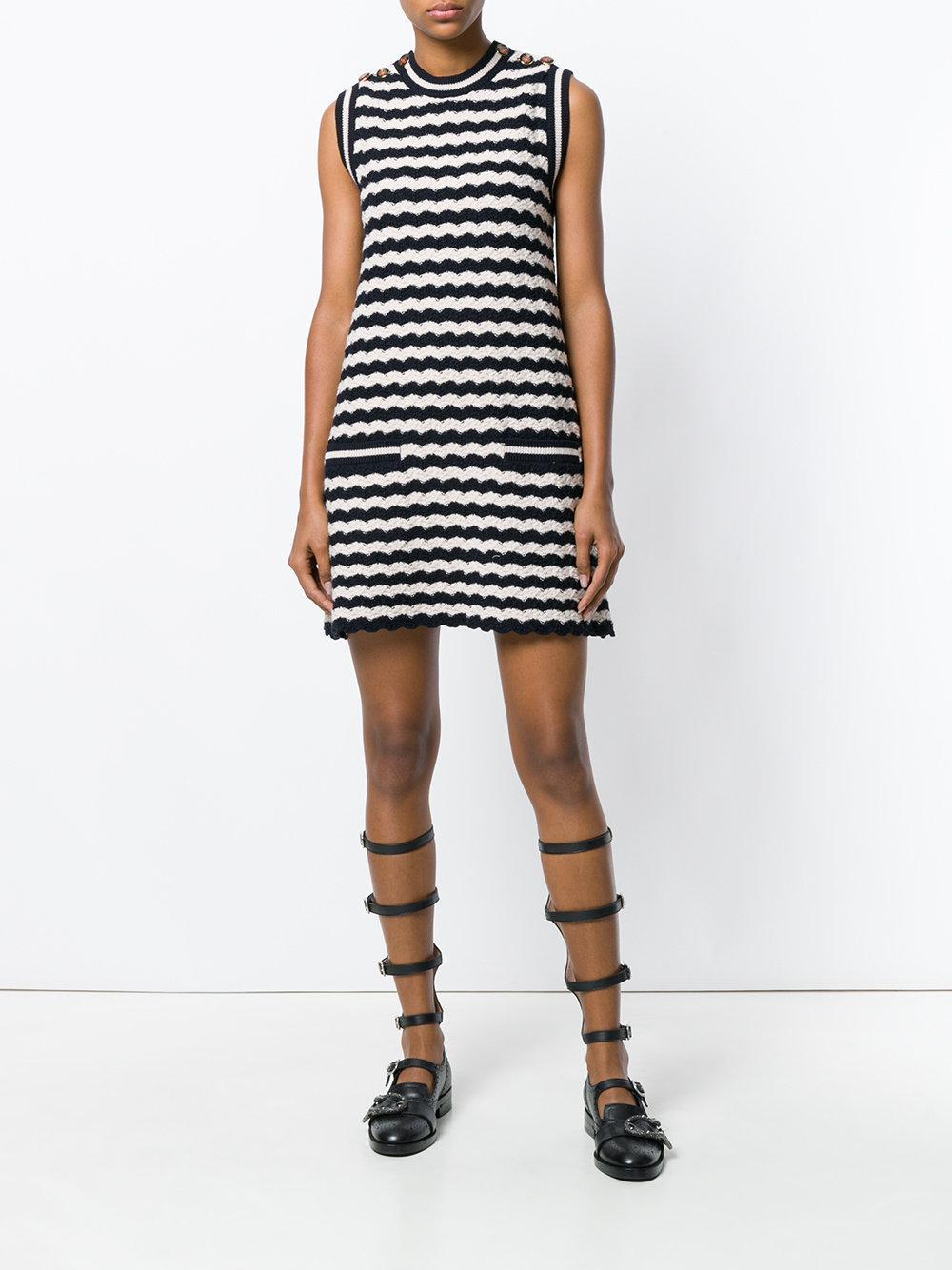 3eecfc35dff6f Lyst - Gucci Striped Knit Sleeveless Dress in Blue