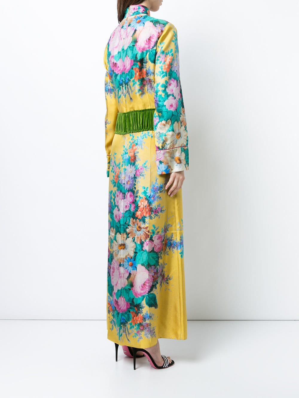 409e79ea483fa Gucci - Yellow Velvet Belt Floral Gown - Lyst. View fullscreen