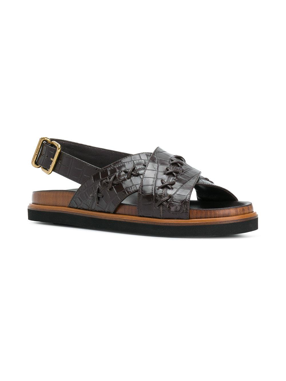 Tod's Leather Crossover Slide Sandals buy cheap excellent W2oZ2