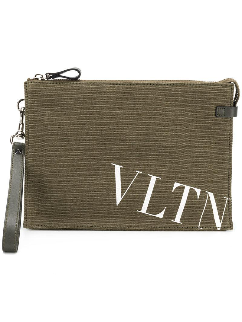 Valentino VLTN print canvas clutch 6o2Q090