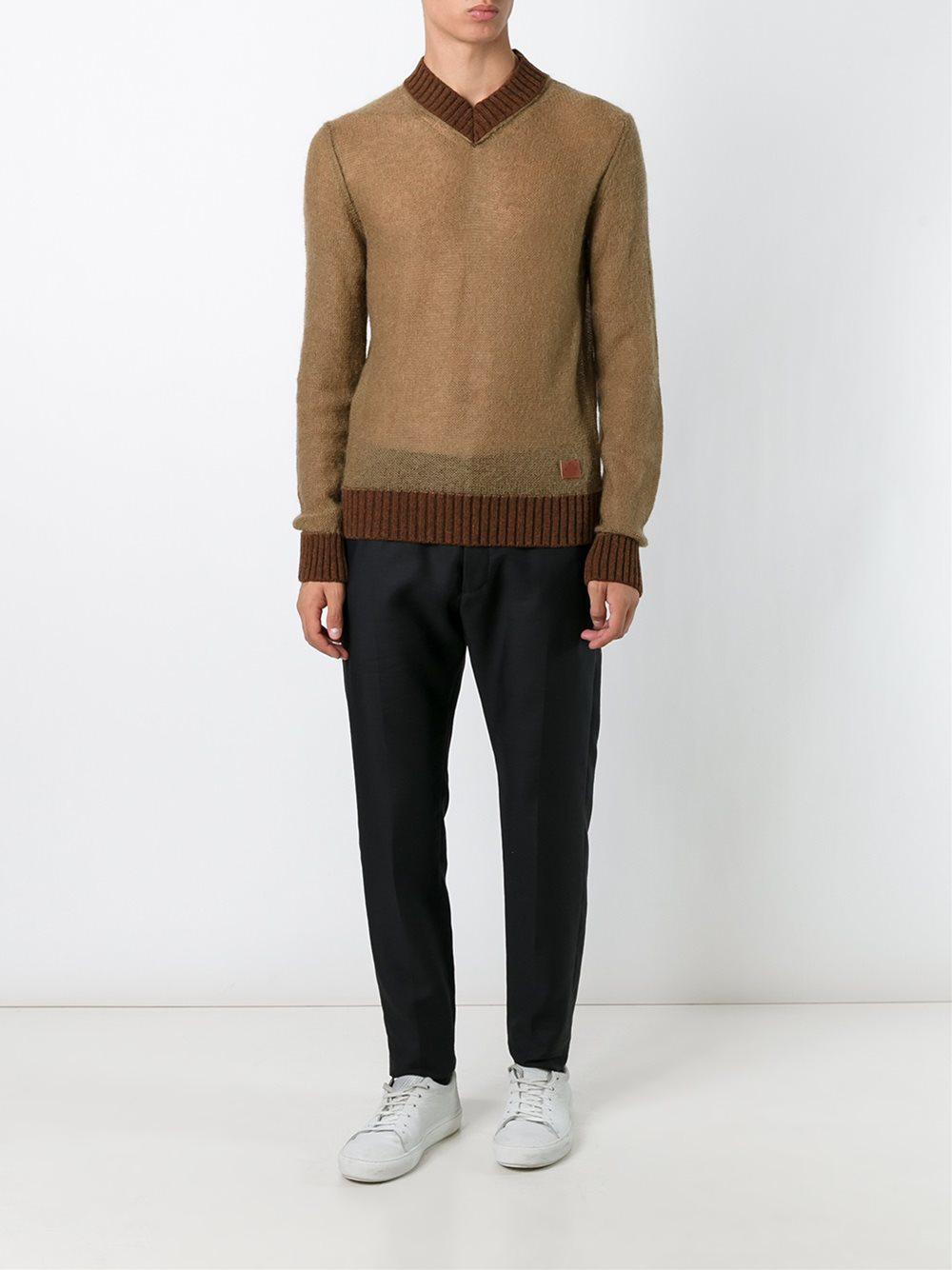5573226dff Al Duca D Aosta V-neck Sweater in Brown for Men - Lyst