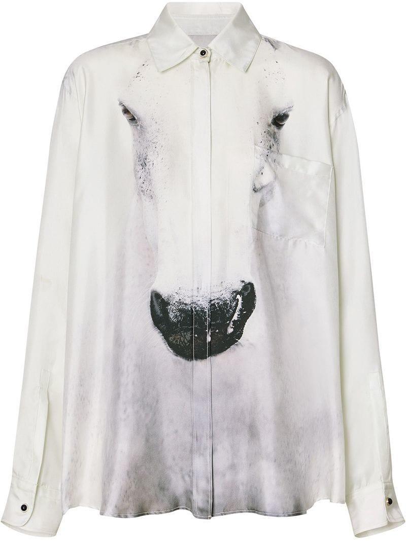 2ec52f04287abd Lyst - Burberry Unicorn Print Silk Shirt in Gray