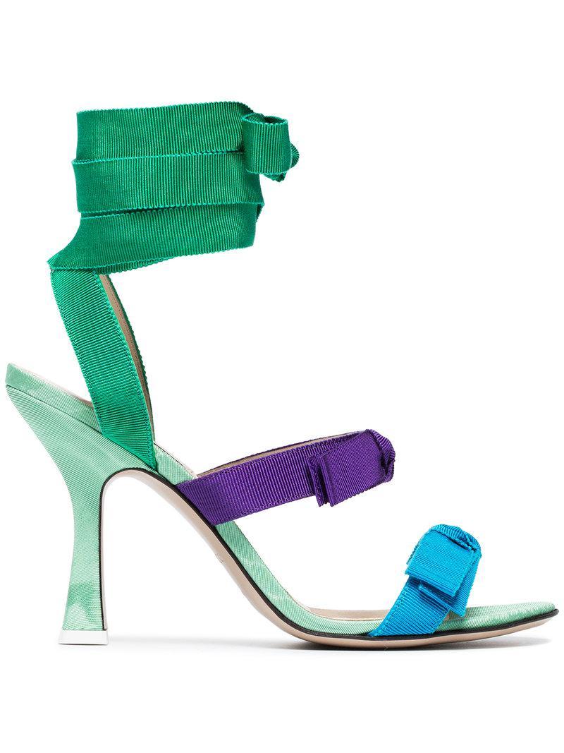 multi coloured Diletta 100 ribbon leather sandals - Green Attico PZZiW
