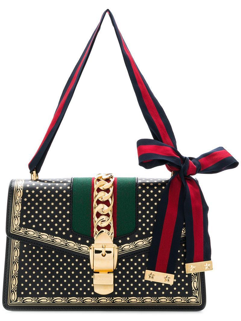Lyst - Sac porté épaule à étoiel imprimée Gucci en coloris Noir f4f11a002eb