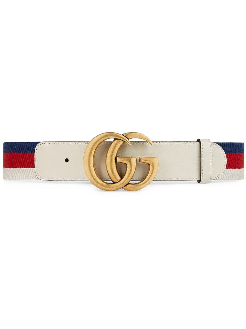 b92629b1545 Gucci Sylvie Web Belt With Double G Buckle in White - Save 5% - Lyst