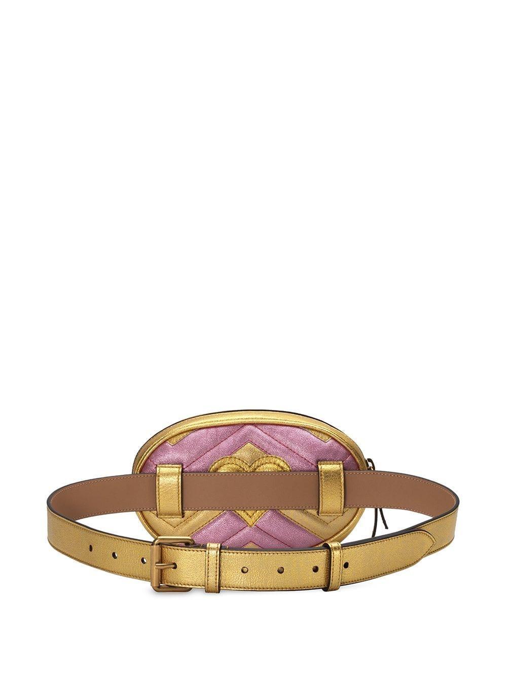 a8b1c2ce855a Gucci - Metallic GG Marmont Matelassé Leather Belt Bag - Lyst. View  fullscreen