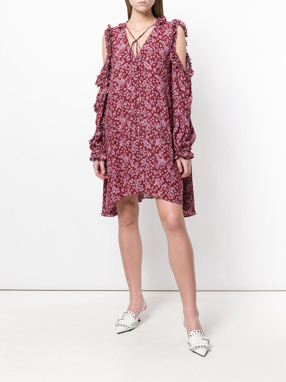 d9af992bd2d0 Lyst - Magda Butrym Floral Cold-shoulder Dress in Pink - Save 41%
