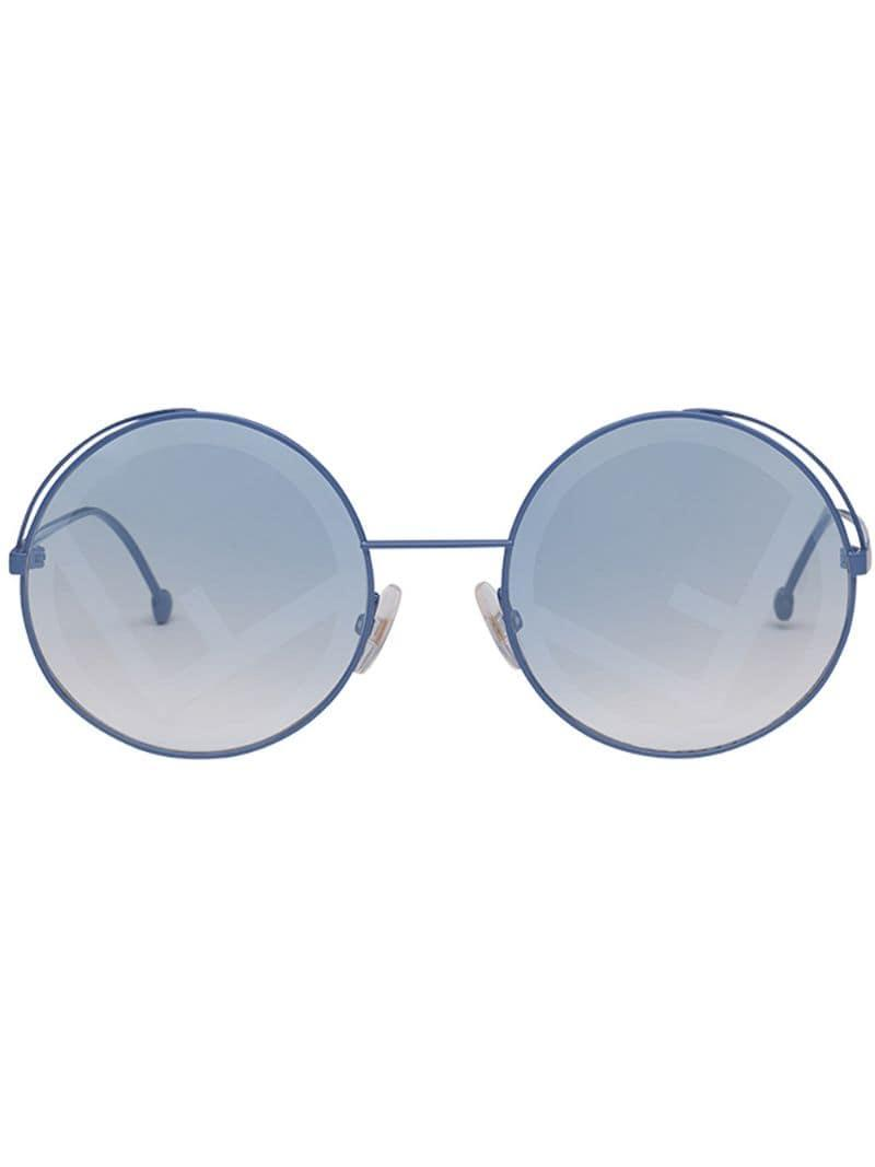 ad732195f21f Fendi Fendirama Round Frame Sunglasses in Blue - Lyst