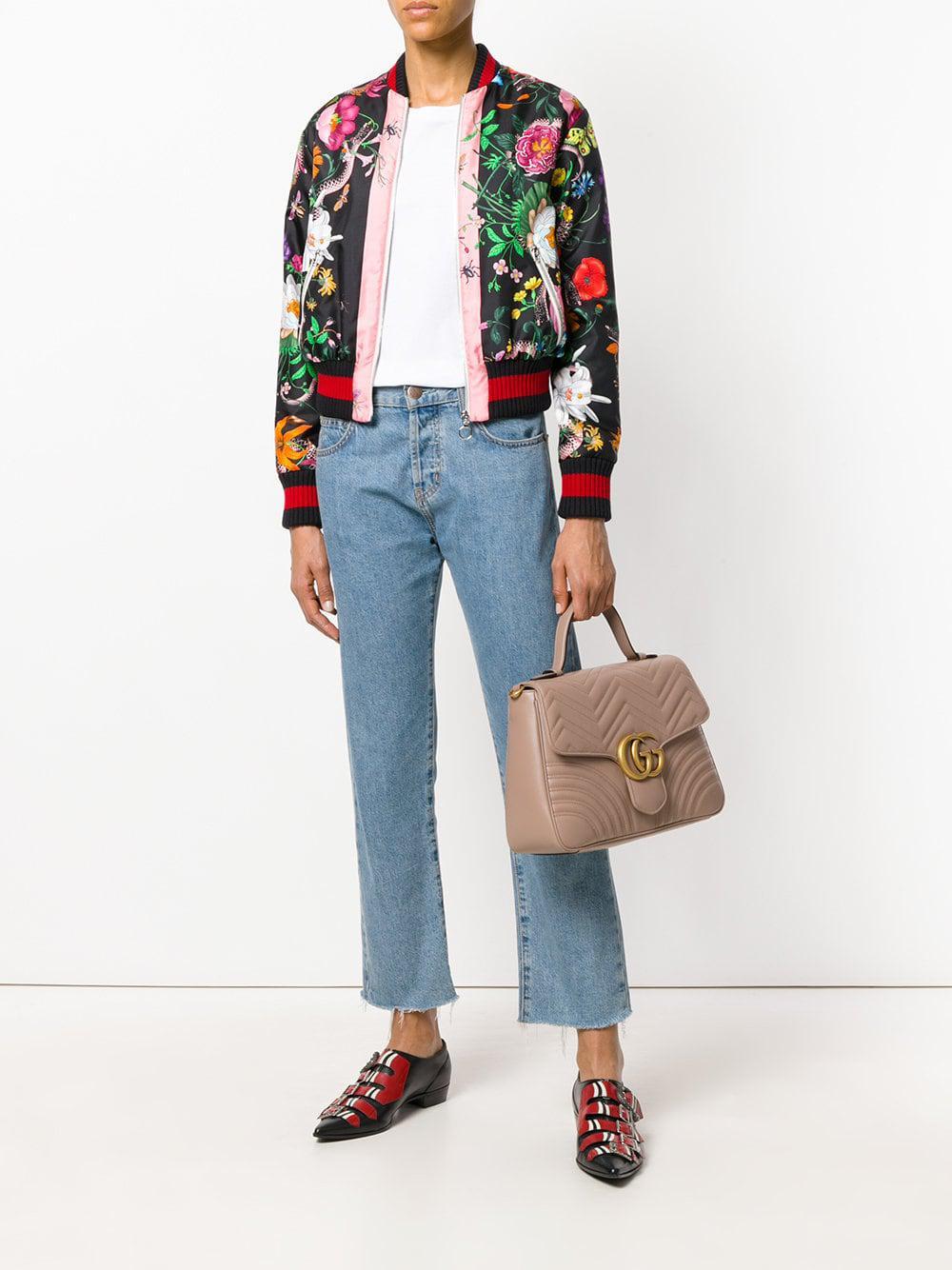 dd5f31f99a4a Gucci GG Marmont Medium Top Handle Bag in Brown - Lyst
