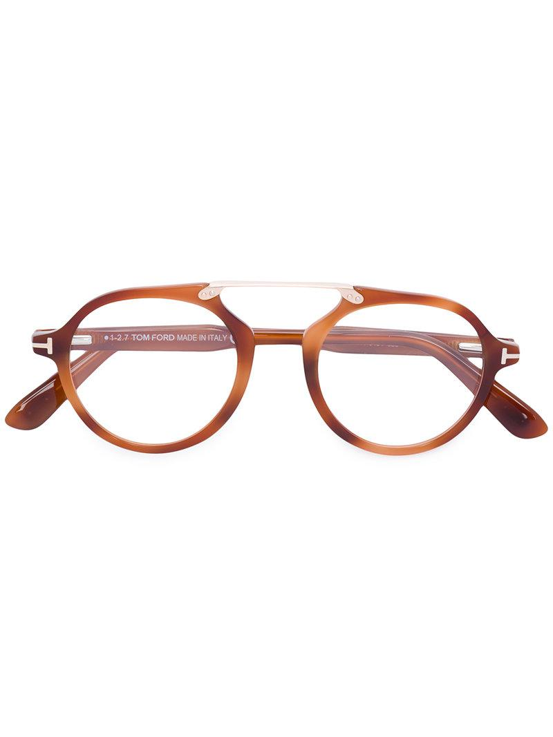 Tom Ford Round High Nose Bridge Glasses In Brown - Lyst-5876