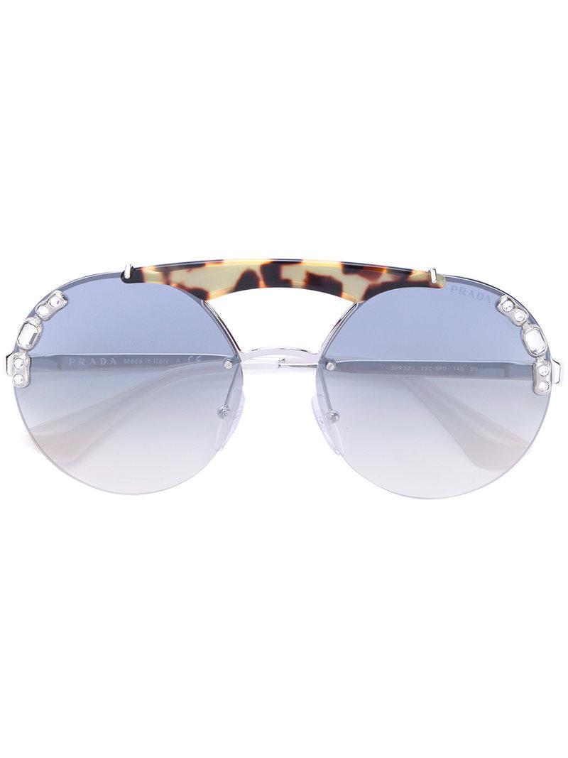 819be1b262 Prada - Metallic Oversized Round Frame Sunglasses - Lyst. View fullscreen