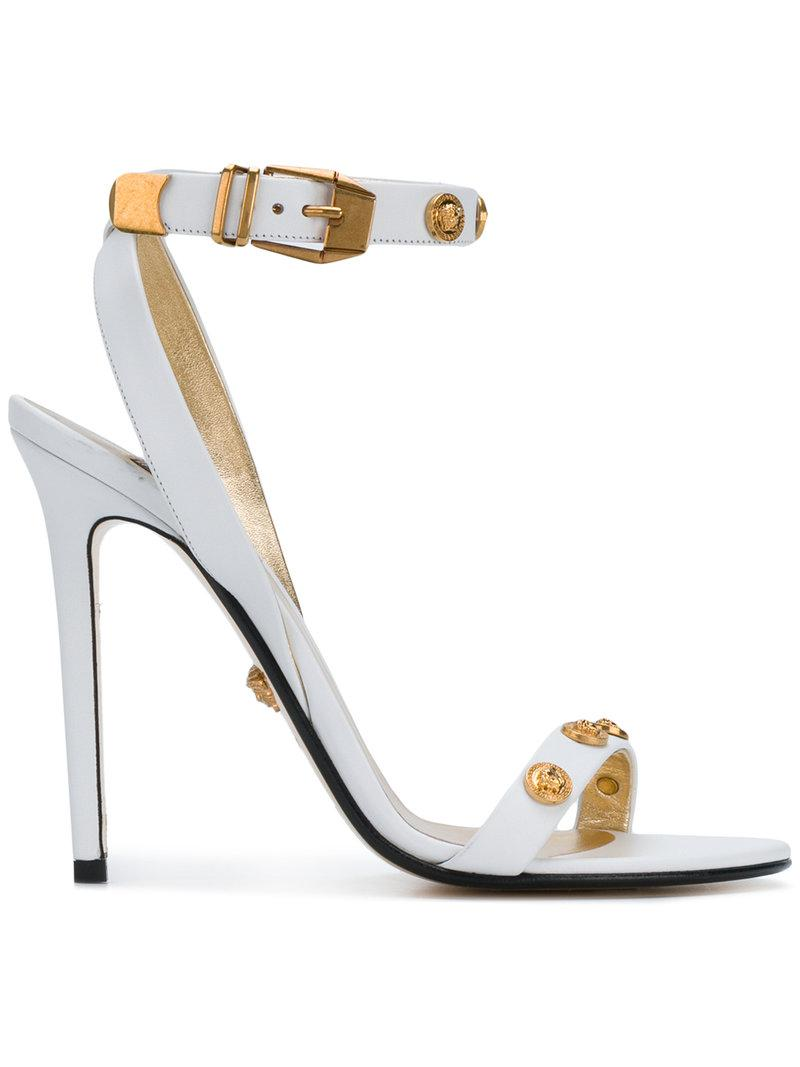 2ec14978f0 Versace Medusa Studded Sandals in White - Save 40% - Lyst