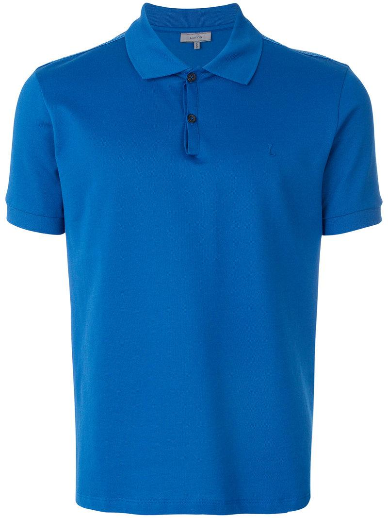 Lyst lanvin classic logo polo shirt in blue for men for Polo shirts with logos
