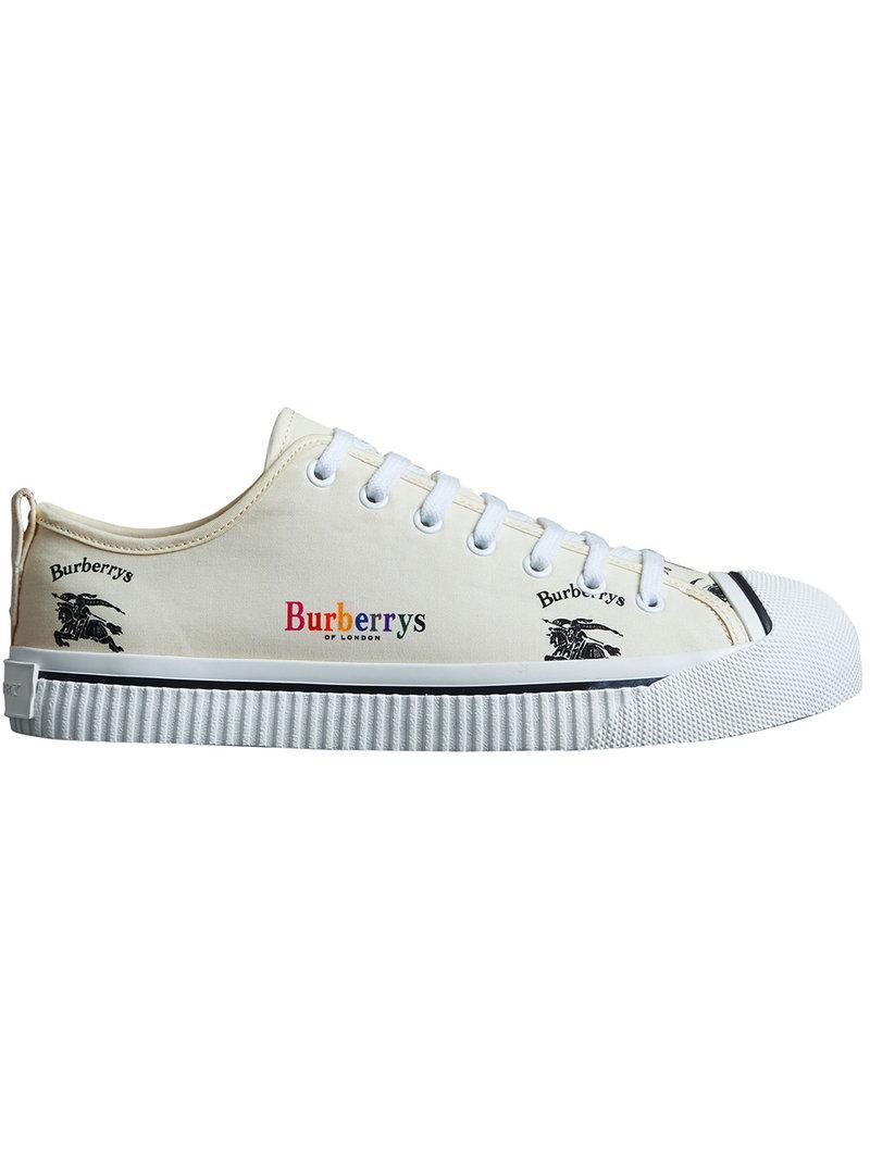 Archive Logo Cotton Gabardine Sneakers - White Burberry 25MhJJ