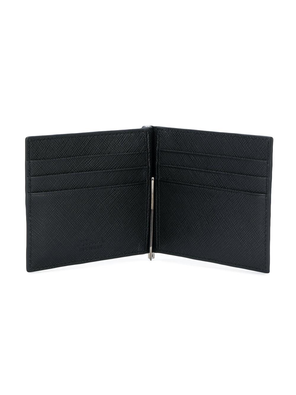 440918493be156 closeout lyst prada saffiano contrast corner bi fold wallet in black for  men e4d51 f72ee