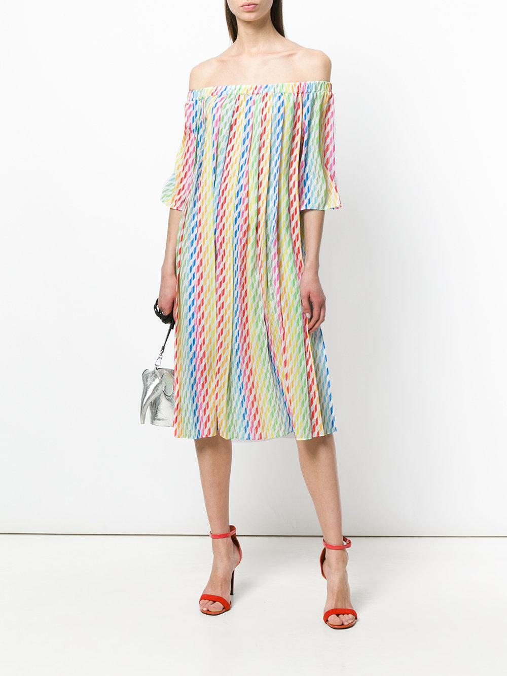 striped off shoulder dress - Multicolour Ultra Chic fT5PQY5O