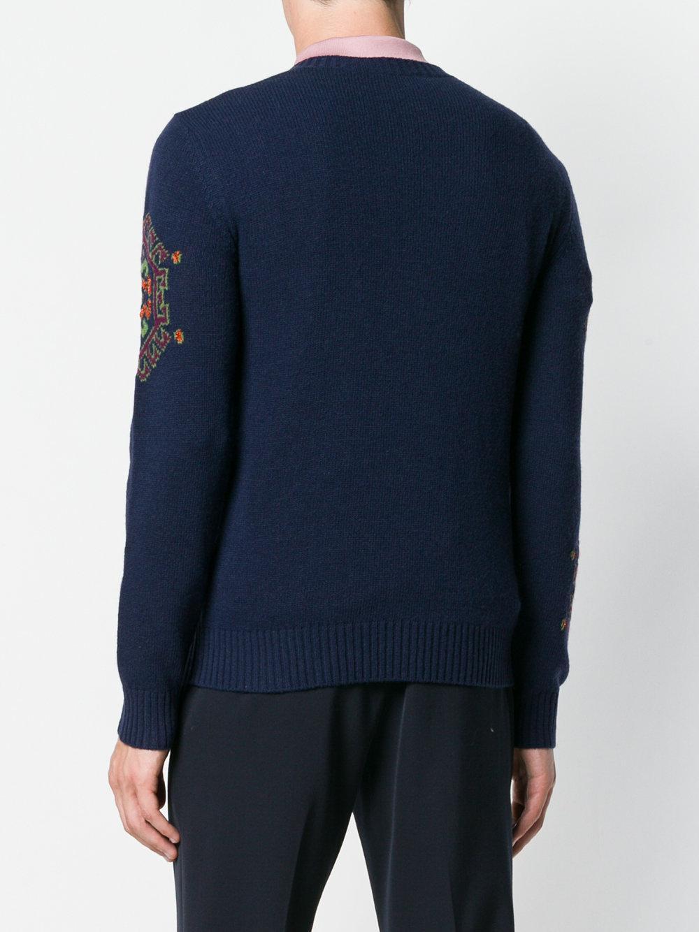 02900c3ffe94 Lyst - Etro Patterned Knit Sweater in Blue for Men