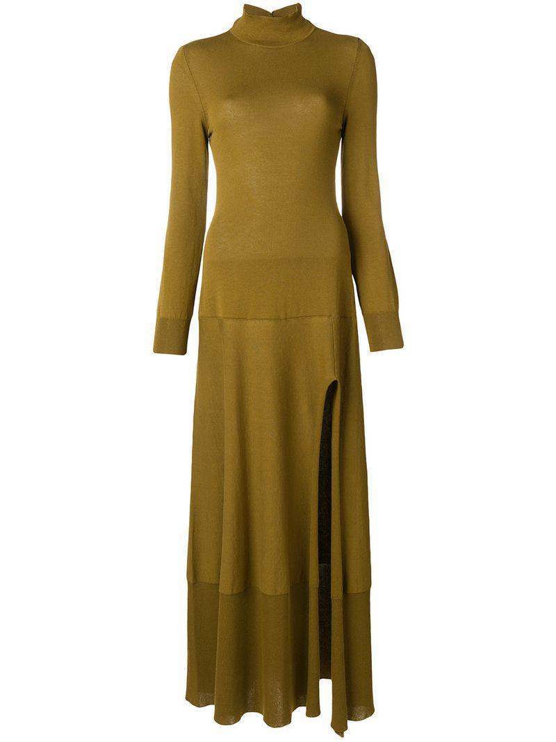 7ba92ba2b4a Jacquemus High Neck Side Slit Sweater Dress in Green - Lyst