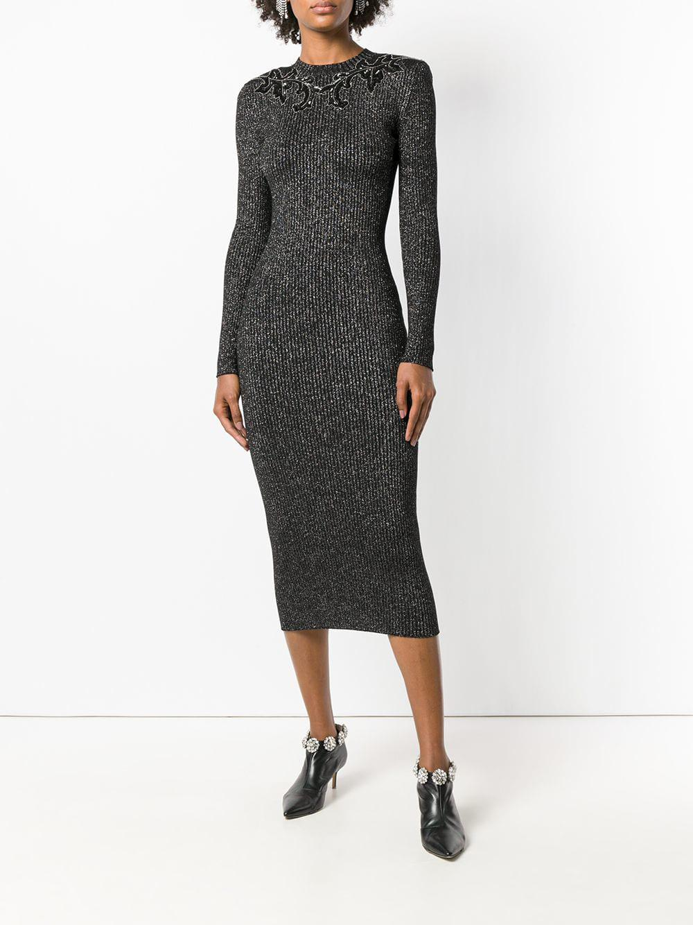 03ccd230 Lyst - Christopher Kane Knitted Glitter Bodycon Dress in Black