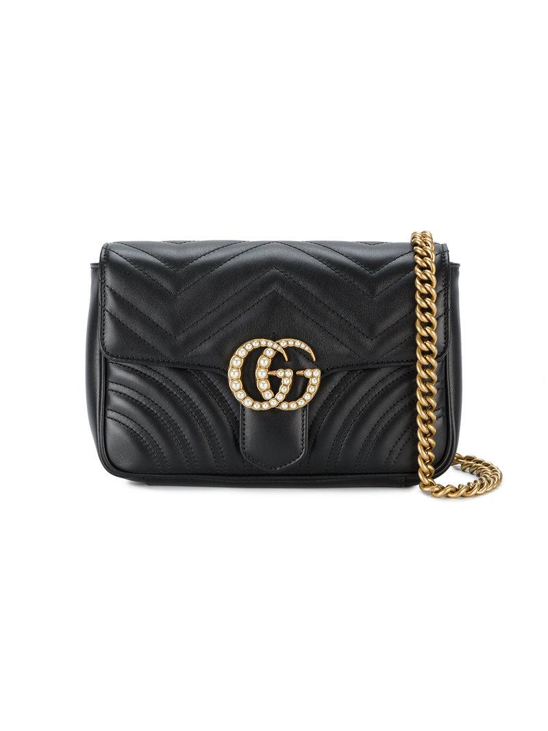60afaf4c9743 Gucci Small Gg Marmont 2.0 Quilted Pearls Bag in Black - Lyst