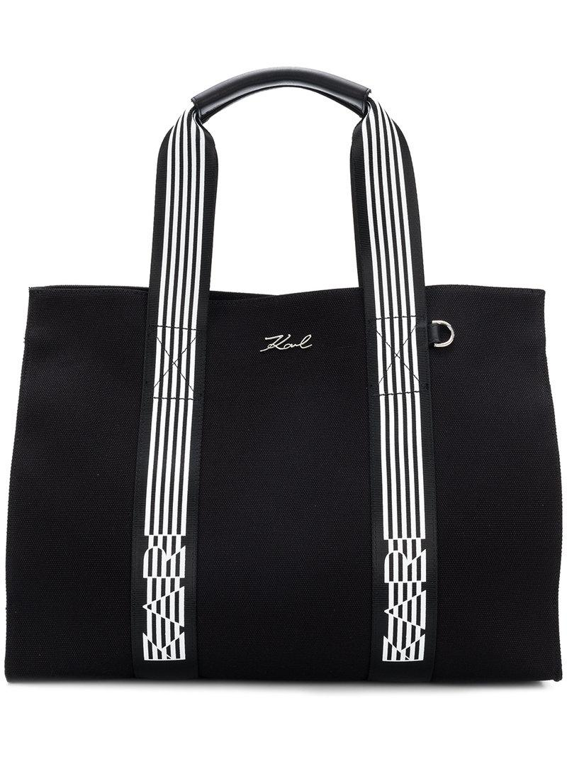 Cheap Sale 2018 New Clearance Brand New Unisex K stripes tote - Black Karl Lagerfeld Free Shipping Cheap x96Nw