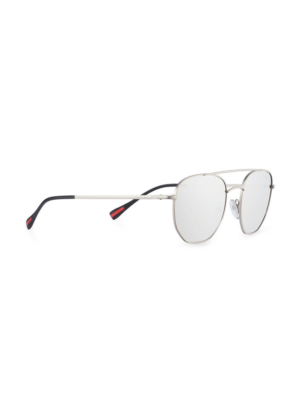 prada chrome sunglasses in gray for men lyst Oakley Two-Face Face On gallery