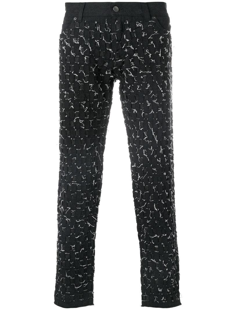 10d3e7b147fb Lyst - Dolce & Gabbana Weave Stitched Trousers in Black for Men