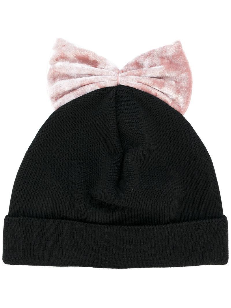 Lyst - Federica Moretti Velvet Bow Beanie in Black 5e4768311c0d