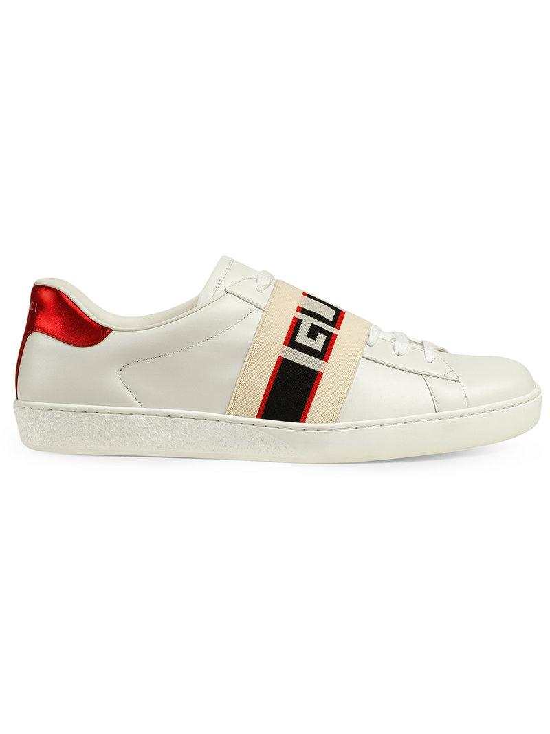 6878ffc33ab Gucci Stripe Leather Sneaker in White for Men - Lyst