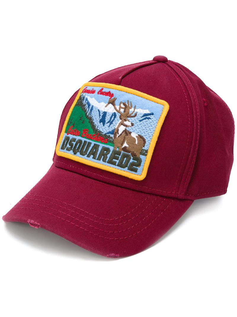05b2385abe3bd7 DSquared² Canadian Country Embroidered Cap in Red for Men - Lyst