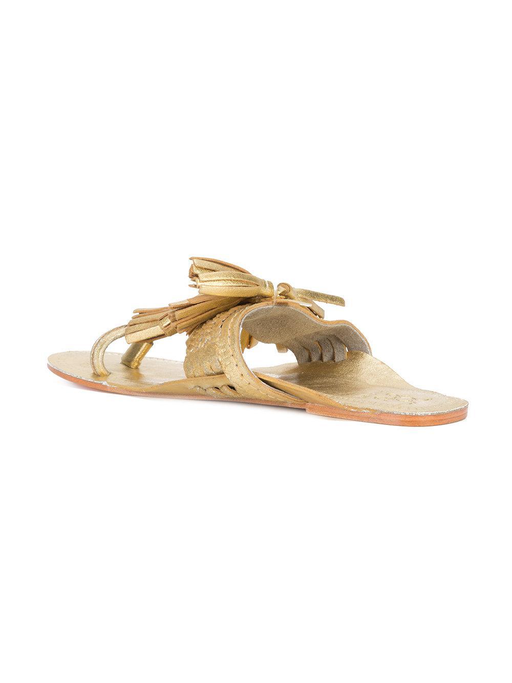 Figue tassel flat sandals - Metallic farfetch beige 7WzERgi