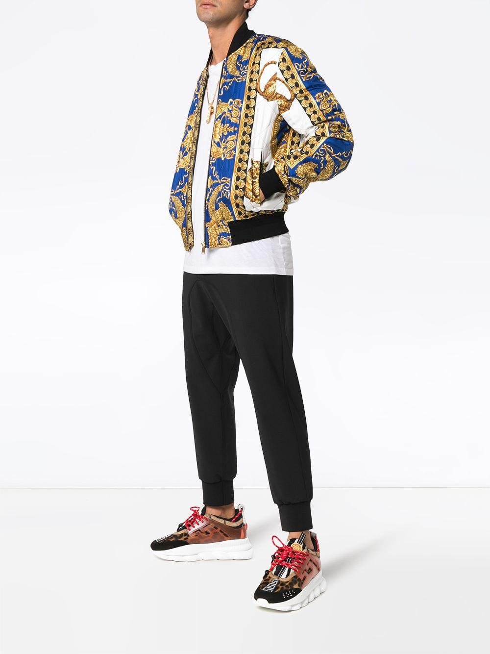 Versace Barocco Print Bomber Jacket In Blue For Men Lyst
