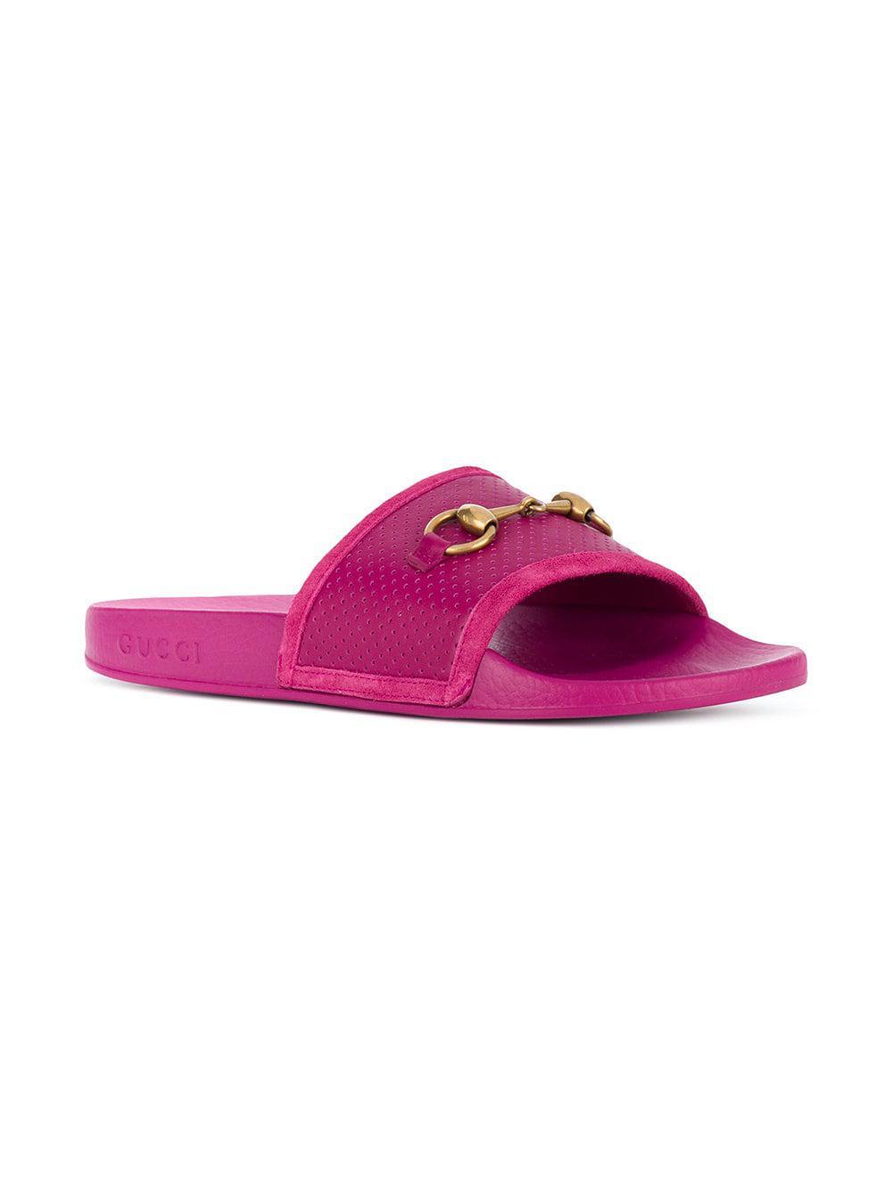 3de4393873f Gucci Pursuit Horsebit Slides in Pink - Lyst