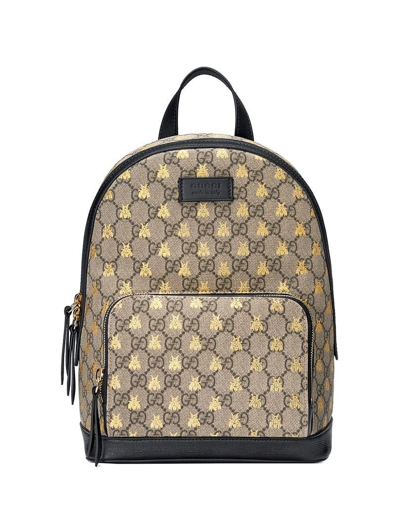 Gucci - Black GG Supreme Bees Backpack - Lyst. View fullscreen 0b8b6ef42d008